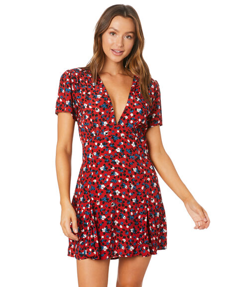 STEVIE FLORAL BERRY WOMENS CLOTHING RUE STIIC DRESSES - SW-20-41-1-SFC-VRSFC