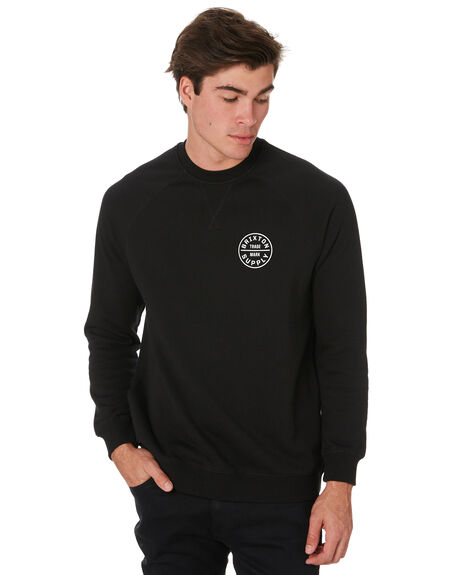 BLACK MENS CLOTHING BRIXTON JUMPERS - 03104BLACK