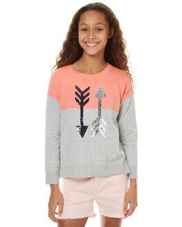 GREY MARLE NEON PINK KIDS GIRLS EVES SISTER JUMPERS - 9990046GRPK