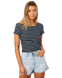 NAVY STRIPE WOMENS CLOTHING ALL ABOUT EVE TEES - 6405043STR2