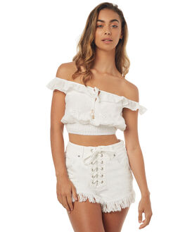 WHITE WOMENS CLOTHING SOMEDAYS LOVIN FASHION TOPS - SL1706407WHT