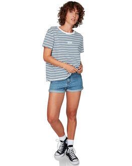 ANTIQUE WHIT WOMENS CLOTHING RVCA TEES - RV-R292690-AWT