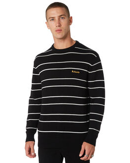 BLACK STRIPE MENS CLOTHING BARNEY COOLS KNITS + CARDIGANS - 402-CC2-BLKST