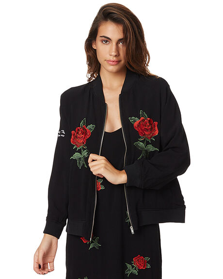 BLACK WOMENS CLOTHING STUSSY JACKETS - ST175711BLK