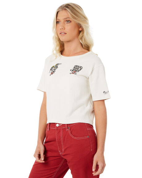 VINTAGE WHITE OUTLET WOMENS RVCA TEES - R281684VWH