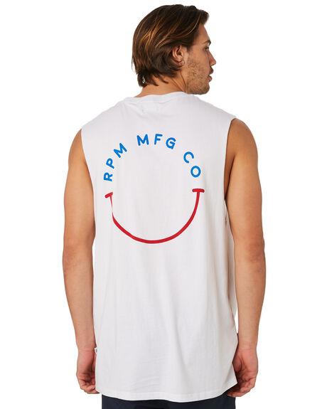 WHITE MENS CLOTHING RPM SINGLETS - 8SMT11BWHT