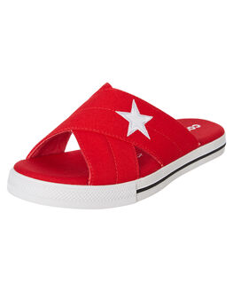 ENAMEL RED WOMENS FOOTWEAR CONVERSE SLIDES - 565528CERED