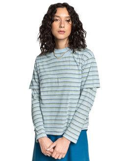 CERULEAN STRIPES WOMENS CLOTHING QUIKSILVER TEES - EQWKT03045-BFN3