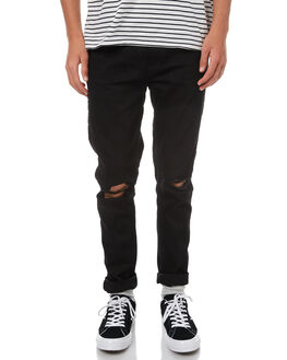 BLACK RIPPED KNEES MENS CLOTHING DR DENIM JEANS - 1330125-A02