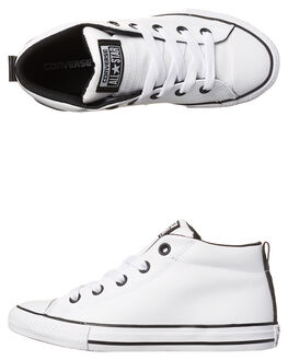 WHITE BLACK KIDS BOYS CONVERSE SNEAKERS - 655993WHI