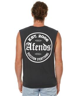 FADED BLACK MENS CLOTHING AFENDS SINGLETS - 01-05-105FBLK