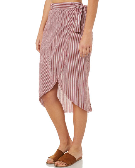 RED MICRO STRIPE WOMENS CLOTHING RUE STIIC SKIRTS - WS18-40-RS-CBRED
