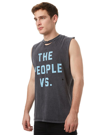 BLACK MENS CLOTHING THE PEOPLE VS SINGLETS - SS17047BLK