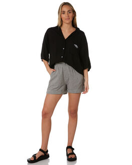 BLACK WOMENS CLOTHING STUSSY FASHION TOPS - ST193405BLK
