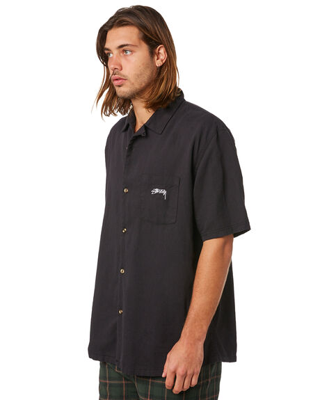 BLACK MENS CLOTHING STUSSY SHIRTS - ST083412BLK