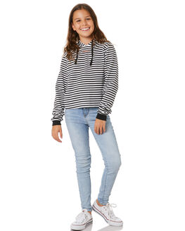 BLACK WHITE STRIPE KIDS GIRLS SWELL JUMPERS + JACKETS - S6203541BLKWH