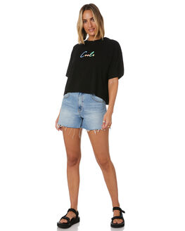 BLACK WOMENS CLOTHING COOLS CLUB TEES - 104-CW6BLK