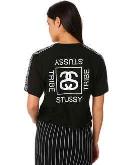BLACK WOMENS CLOTHING STUSSY TEES - ST181012BLK