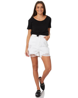 WHITE WOMENS CLOTHING RES DENIM SHORTS - RD-WWN18013WHT