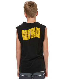 BLACK KIDS BOYS SWELL SINGLETS - S3183273BLACK