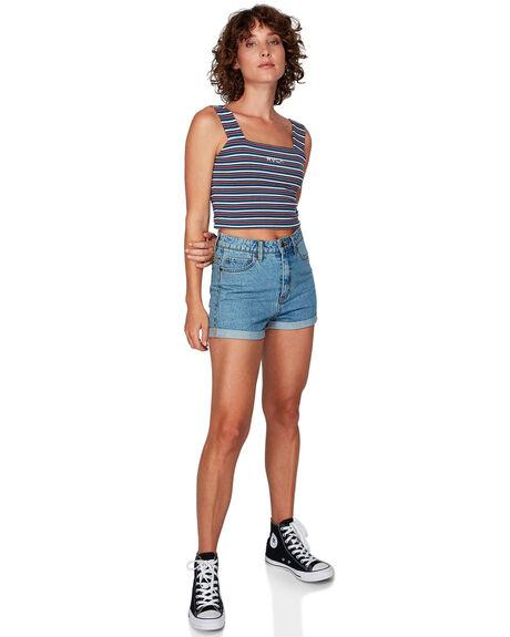DARK DENIM WOMENS CLOTHING RVCA SINGLETS - RV-R292705-D02