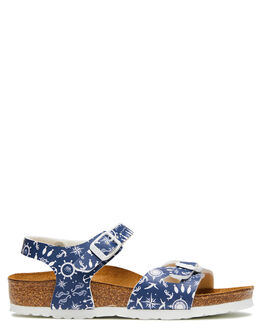 NAUTICAL PRINT BLUE KIDS BOYS BIRKENSTOCK THONGS - 1012712NPB
