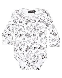 WHITE KIDS BABY LITTLE LORDS CLOTHING - LTLSKULLSBODYWHT