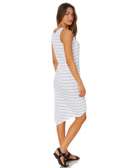 WHITE MIDNAVY STRIPE WOMENS CLOTHING SILENT THEORY DRESSES - 6061028STR2