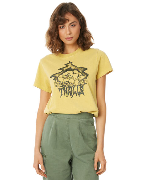VINTAGE YELLOW WOMENS CLOTHING THRILLS TEES - WTW8-106KVYELL