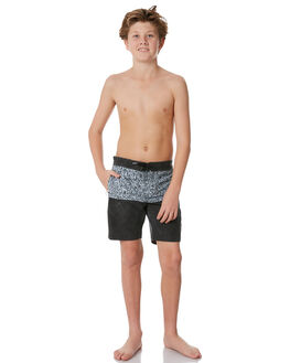 BLACK WHITE KIDS BOYS VOLCOM BOARDSHORTS - C0831806BKW