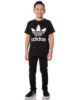 BLACK WHITE KIDS BOYS ADIDAS TOPS - DV2905BLKWH