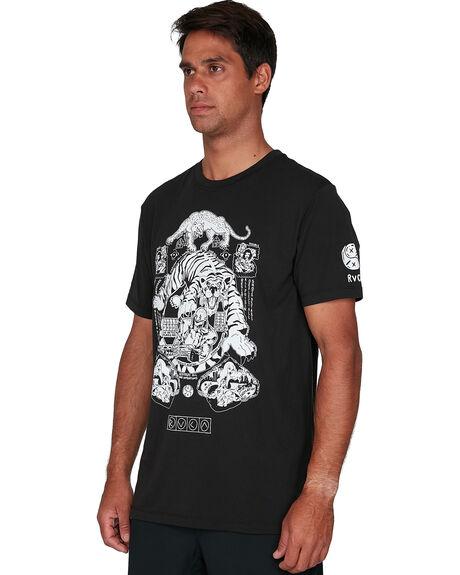 BLACK MENS CLOTHING RVCA TEES - RV-R308041-BLK