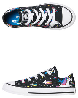 BLACK KIDS GIRLS CONVERSE SNEAKERS - 665474CBLK