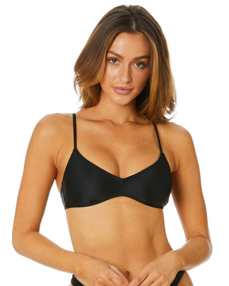 BLACK WOMENS SWIMWEAR KISSMAX BIKINI TOPS - SW013BLK