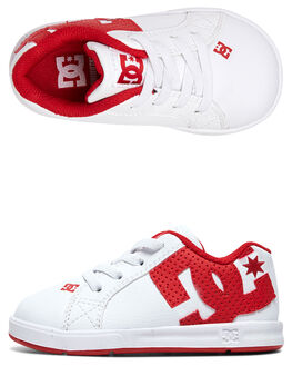 WHITE/TRUE RED KIDS BOYS DC SHOES FOOTWEAR - ADTS700036-WE4