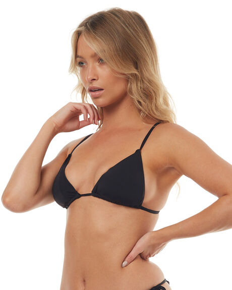 BLACK WOMENS SWIMWEAR TEE INK BIKINI TOPS - SW0005TBLK