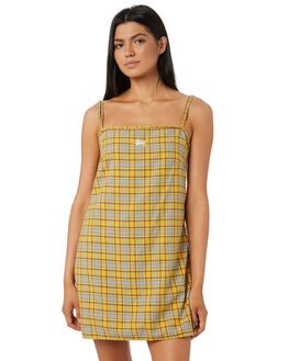 YELLOW CHECK WOMENS CLOTHING STUSSY DRESSES - ST183506YEL