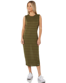 OLIVE CANVAS WOMENS CLOTHING HURLEY DRESSES - AGDSDFEC-395