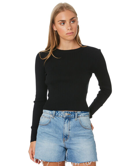 BLACK WOMENS CLOTHING NUDE LUCY KNITS + CARDIGANS - NU23852BLK
