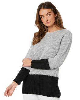BLACK GREY WOMENS CLOTHING SASS KNITS + CARDIGANS - 12700KNSSBKGY