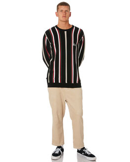 BLACK MENS CLOTHING STUSSY KNITS + CARDIGANS - ST091302BLK