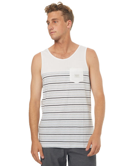 WHITE MENS CLOTHING QUIKSILVER SINGLETS - EQYKT03596WBB4