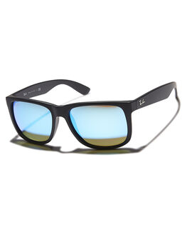 BLACK RUBBER GREEN UNISEX ADULTS RAY-BAN SUNGLASSES - 0RB41655562255