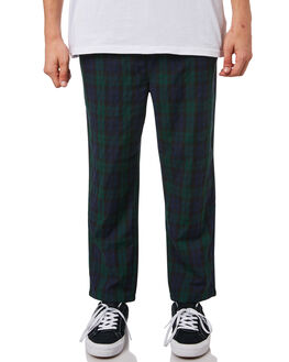 GREEN CHECK MENS CLOTHING STUSSY PANTS - ST082622GRNCH