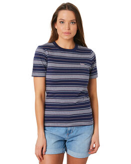NAVY PINK WOMENS CLOTHING LEE TEES - L-651878-FW6NVYPK