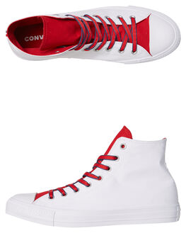 WHITE GYM RED MENS FOOTWEAR CONVERSE HI TOPS - 160466RED