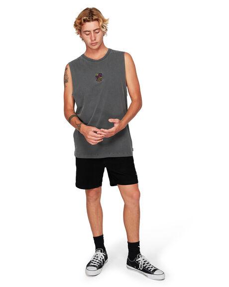 BLACK MENS CLOTHING RVCA SINGLETS - RV-R192011-BLK