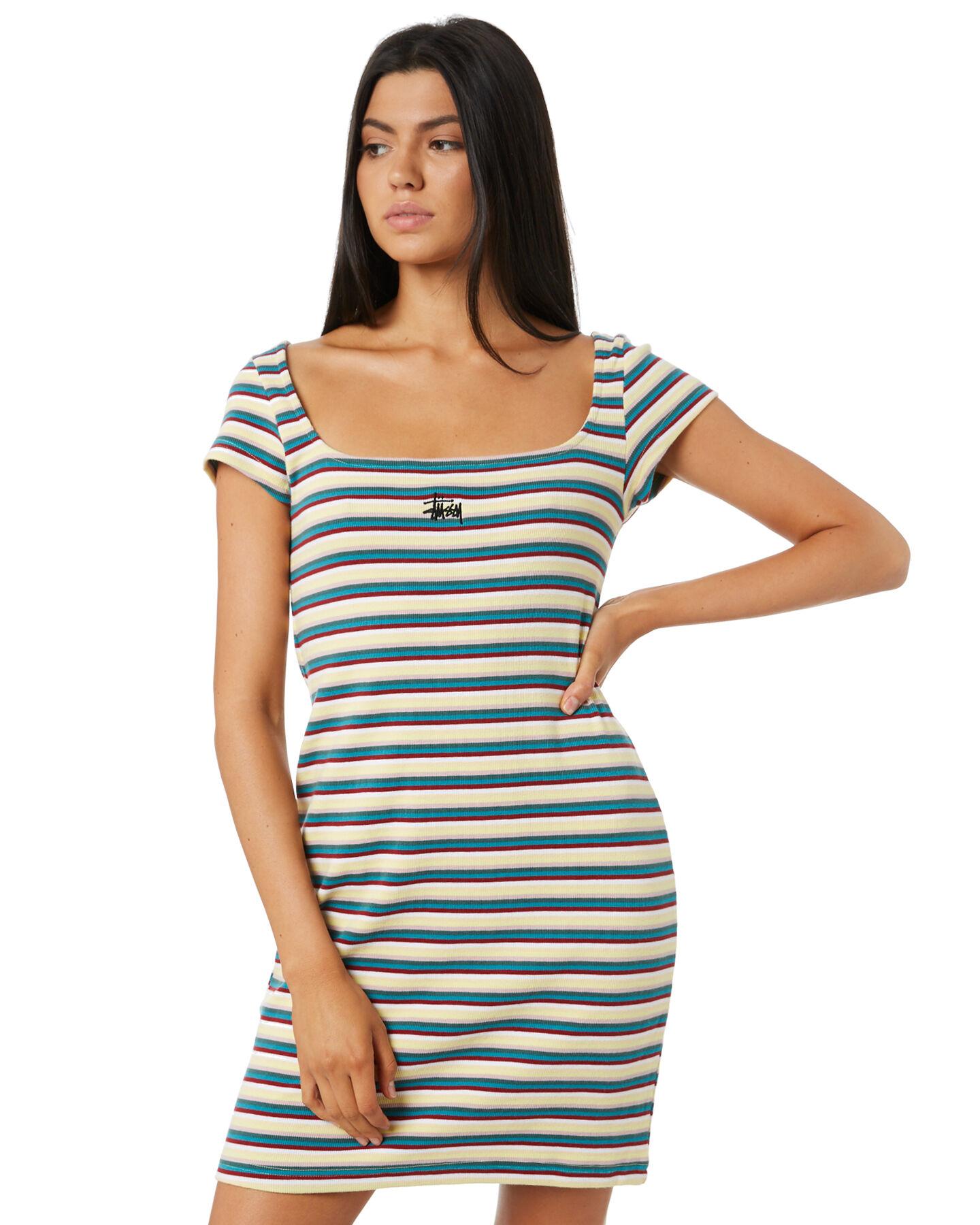 Goddiva Black Blue Stripe Party Club Stretch Bodycon Mini Dress 8 10 12 14
