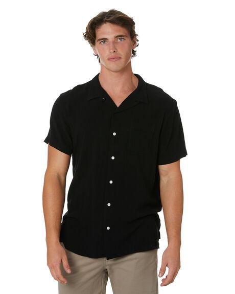 BLACK MENS CLOTHING STAY SHIRTS - SSH-20405BLK