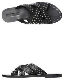 BLACK WOMENS FOOTWEAR SOL SANA SLIDES - SS192S418BLK